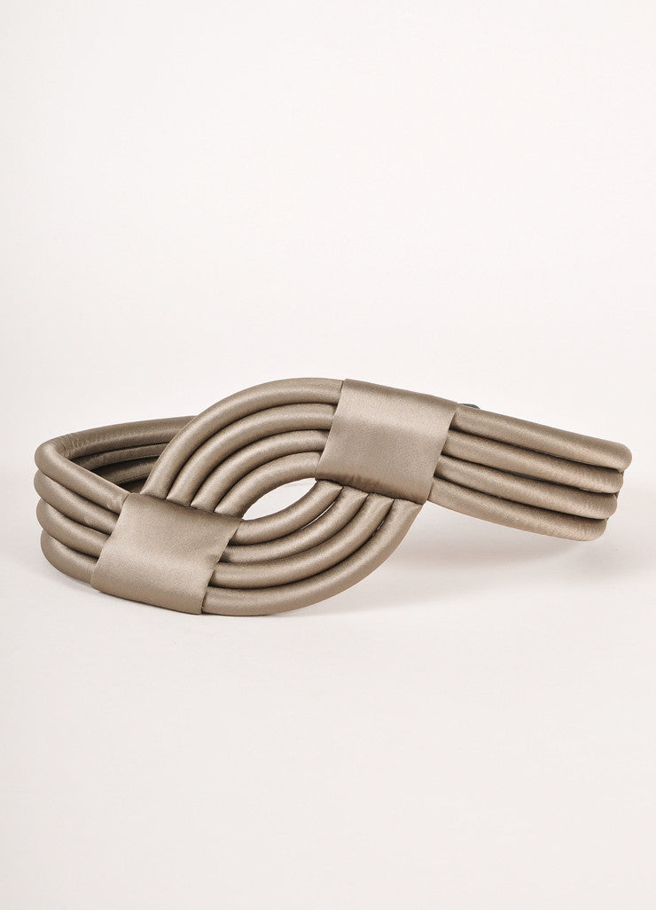 Escada Grey Rolled and Banded Satin Waist Belt Frontview