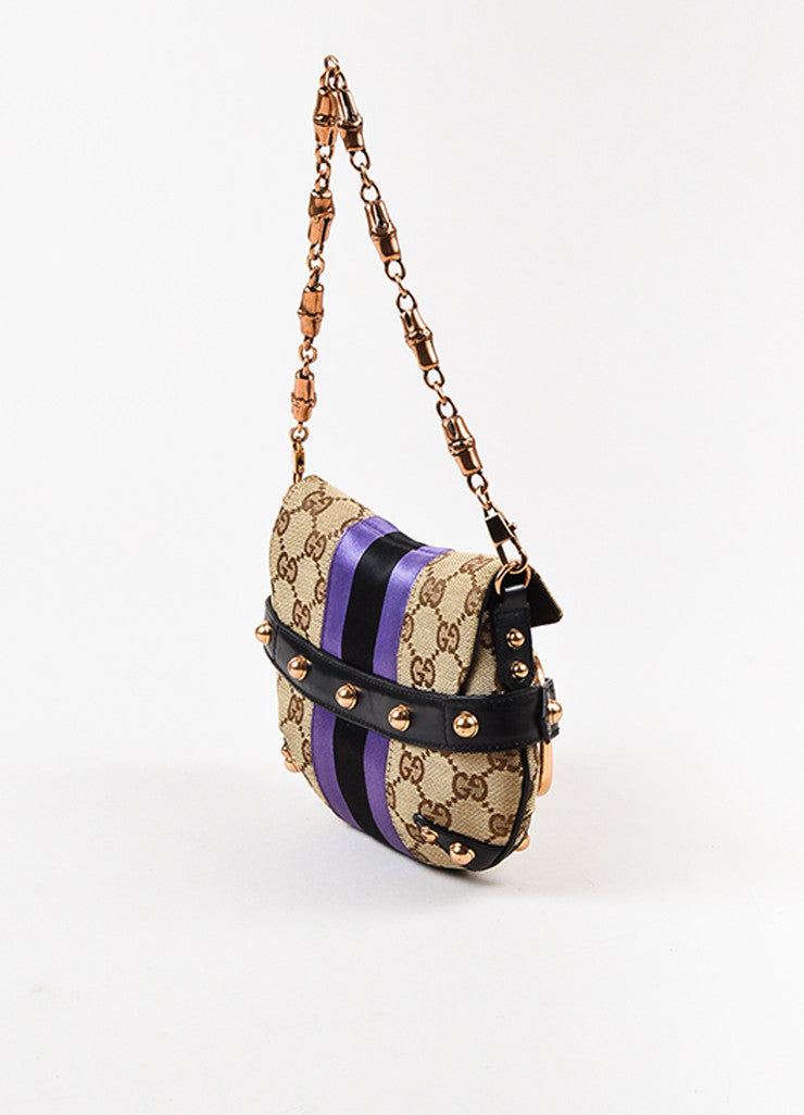Gucci Beige, Black, and Purple Leather Trim Monogram Horsebit Bag Sideview