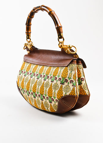"Gucci Brown and Cream Canvas Leather ""Pigna"" Pattern Bamboo Handle ""Peggy"" Hobo Bag Sideview"
