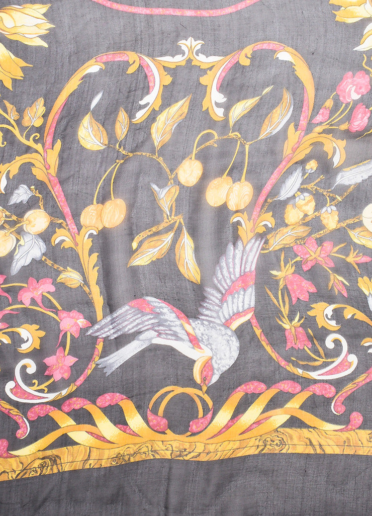 "Hermes Black and Multicolor Silk Floral Print ""Pierres d'Orient et d'Occident"" Scarf Detail 2"