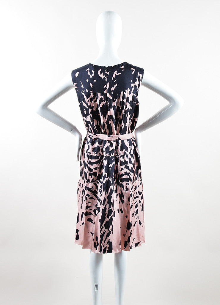 J. Mendel Pink and Black Silk Printed Pleated Belted Sleeveless Dress Backview