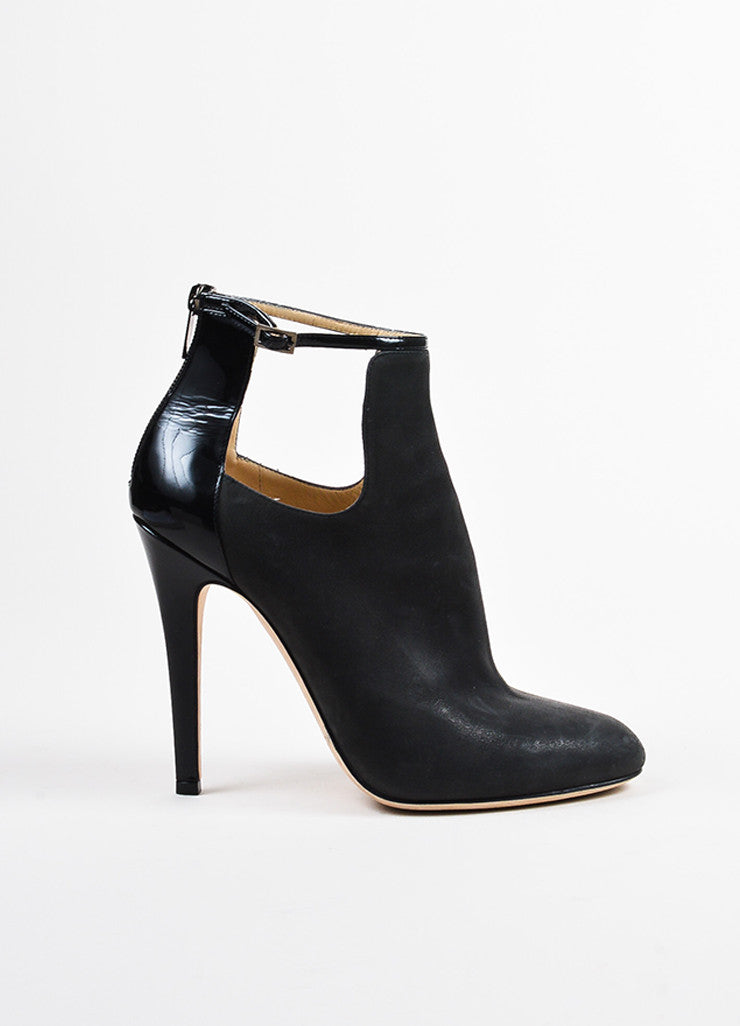 "Grey Jimmy Choo Nubuck Leather Cut Out ""Luther"" Ankle Boots Side"