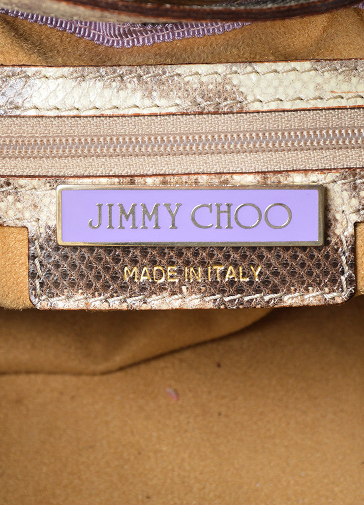 "Beige and Brown Jimmy Choo Snakeskin Leather Gathered ""Ramona"" Shoulder Bag Brand"