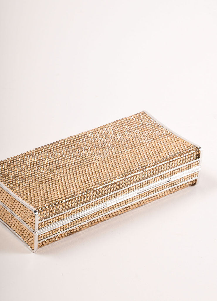 Judith Leiber Gold Crystal Rhinestone Small Rectangular Minaudiere Clutch Bag Bottom View