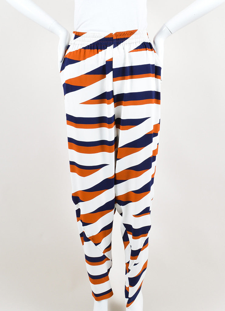 Navy, White, and Brown Kenzo Z Stripe Drop Crotch Jogger Trousers Frontview