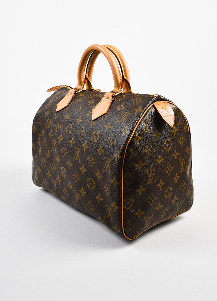 "Louis Vuitton Brown and Tan Coated Canvas Leather Trim Monogram ""Speedy 30"" Bag Sideview"