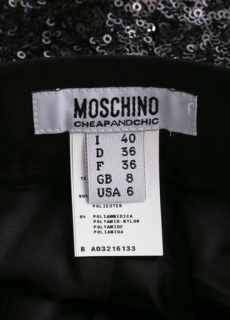 Moschino Cheap & Chic Black Sequin Satin Pleated Shorts Brand