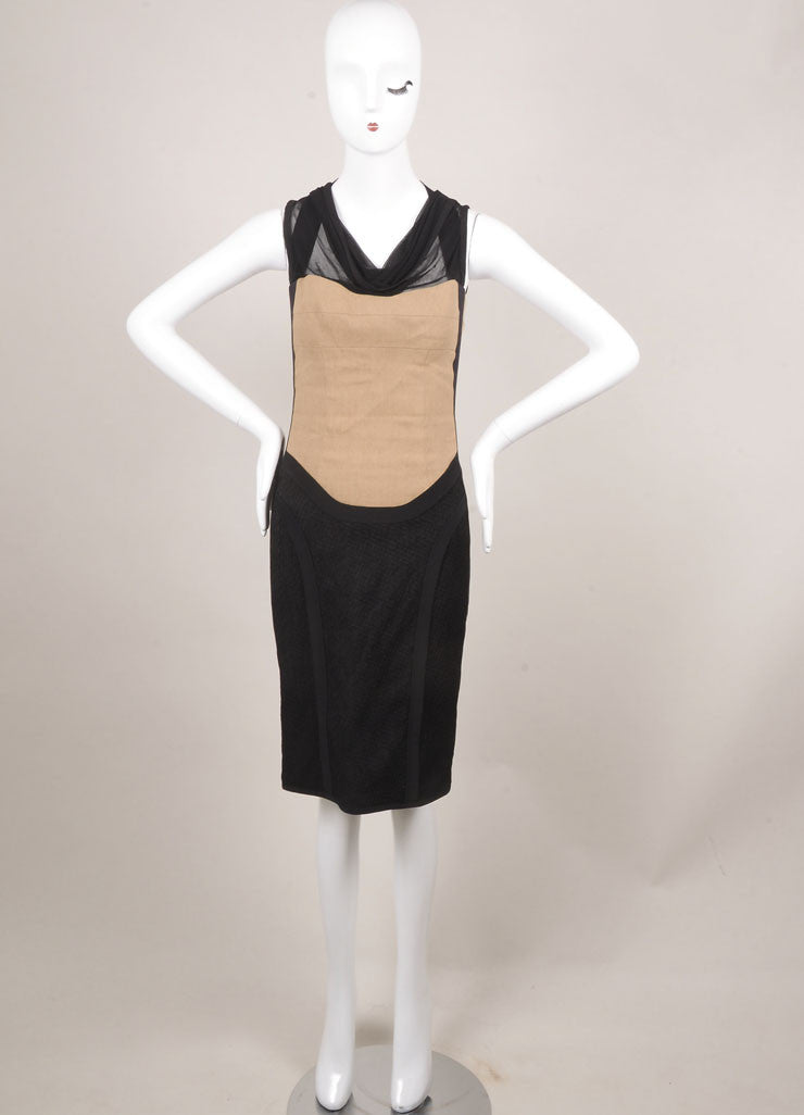 Narciso Rodriguez Black and Tan Sleeveless Cowl Neck Fitted Dress Frontview
