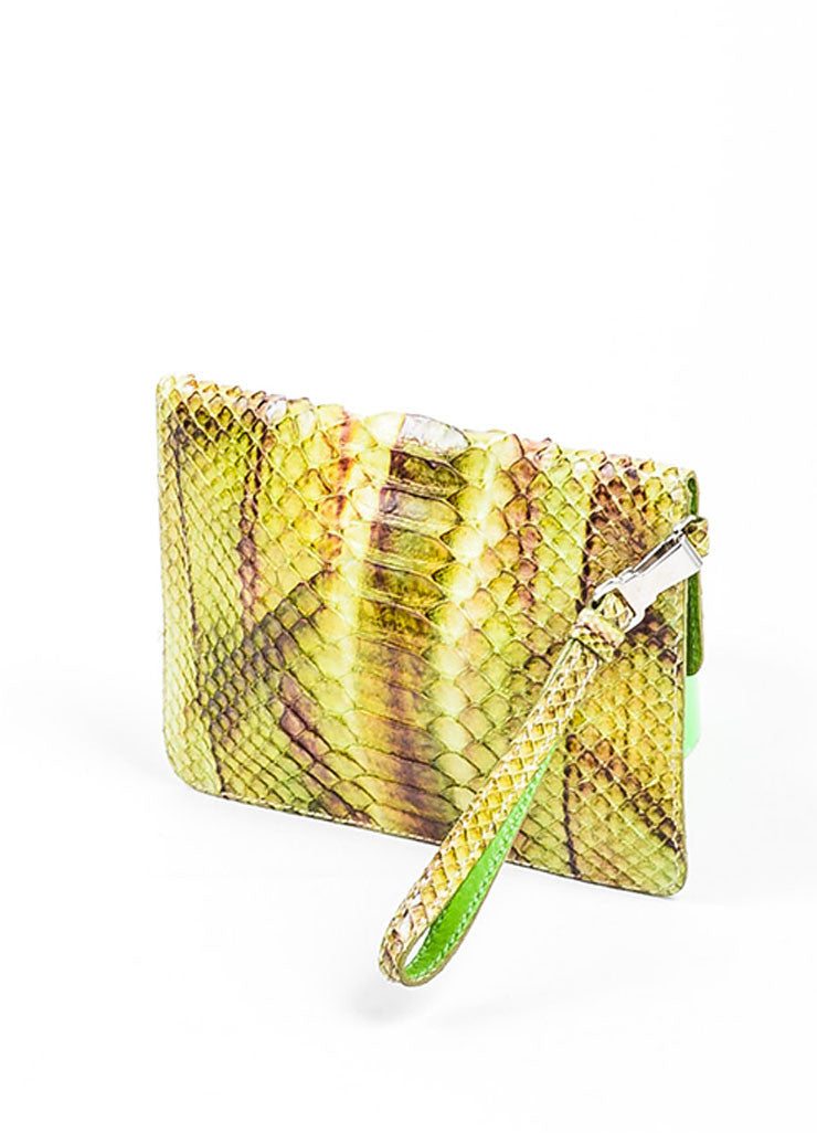 Green, Brown, and Purple Prada Python Snakeskin Top Flap Push Lock Wristlet Wallet Backview