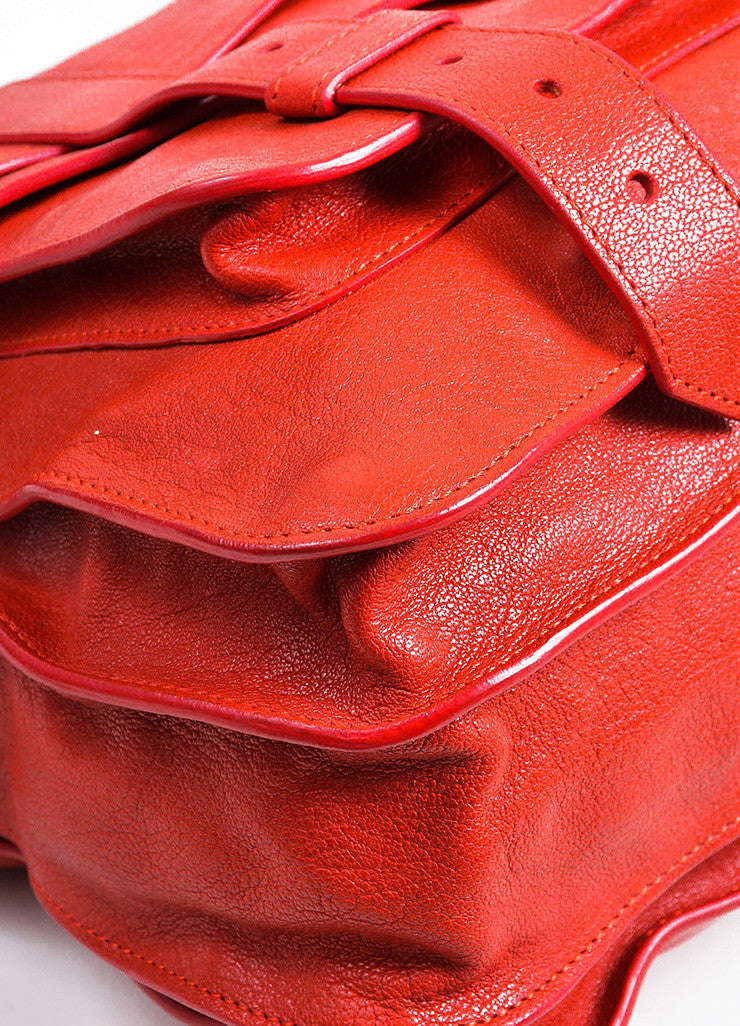 Red Leather Gold Toned Hardware Proenza Schouler Large PS1 Satchel Bag Detail