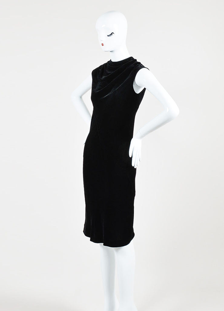 Black Rick Owens Velvet Cowl Neck Sleeveless Dress Sideview