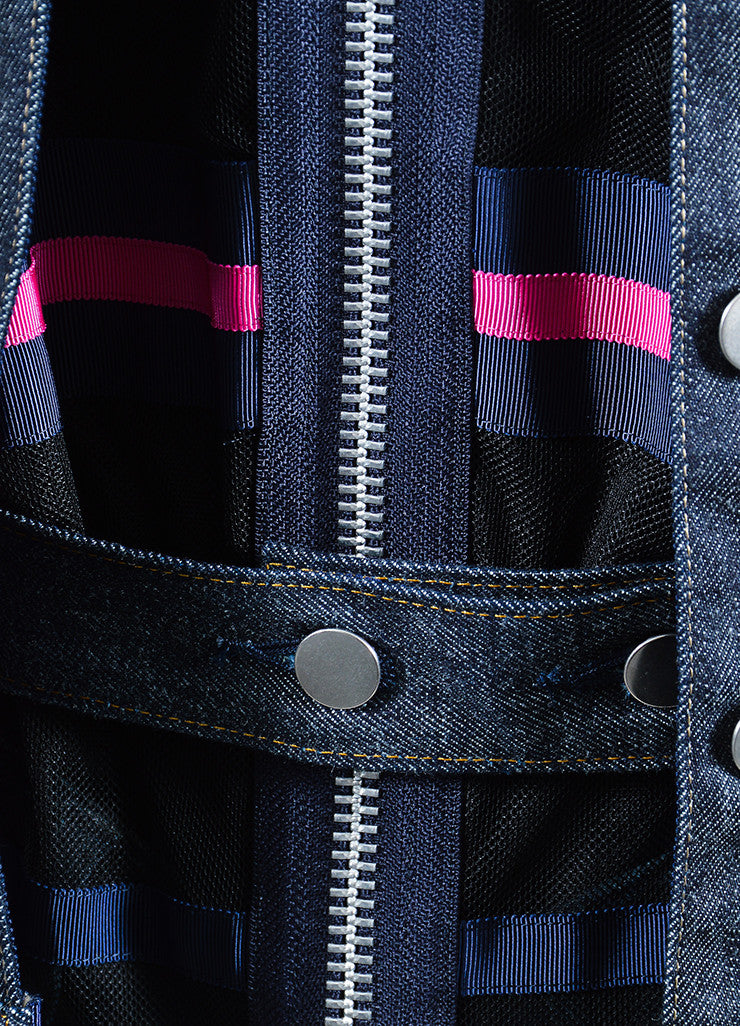 Blue and Pink Sacai Striped Mesh Denim Layered Cap Sleeve Vest Set Detail
