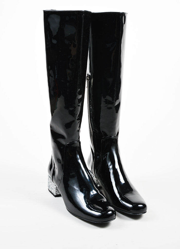 Black Saint Laurent Patent Glitter Heel Knee High Boots Frontview