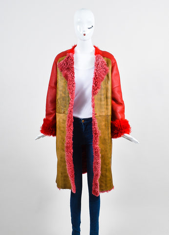 Red and Brown¥éË Sofie D'Hoore Fur Leather Reversible Patched Coat Frontview