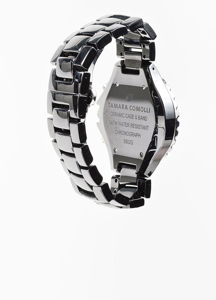 Black and Silver Toned Tamara Comolli Cermaic Large Chronograph Bracelet Watch Backview