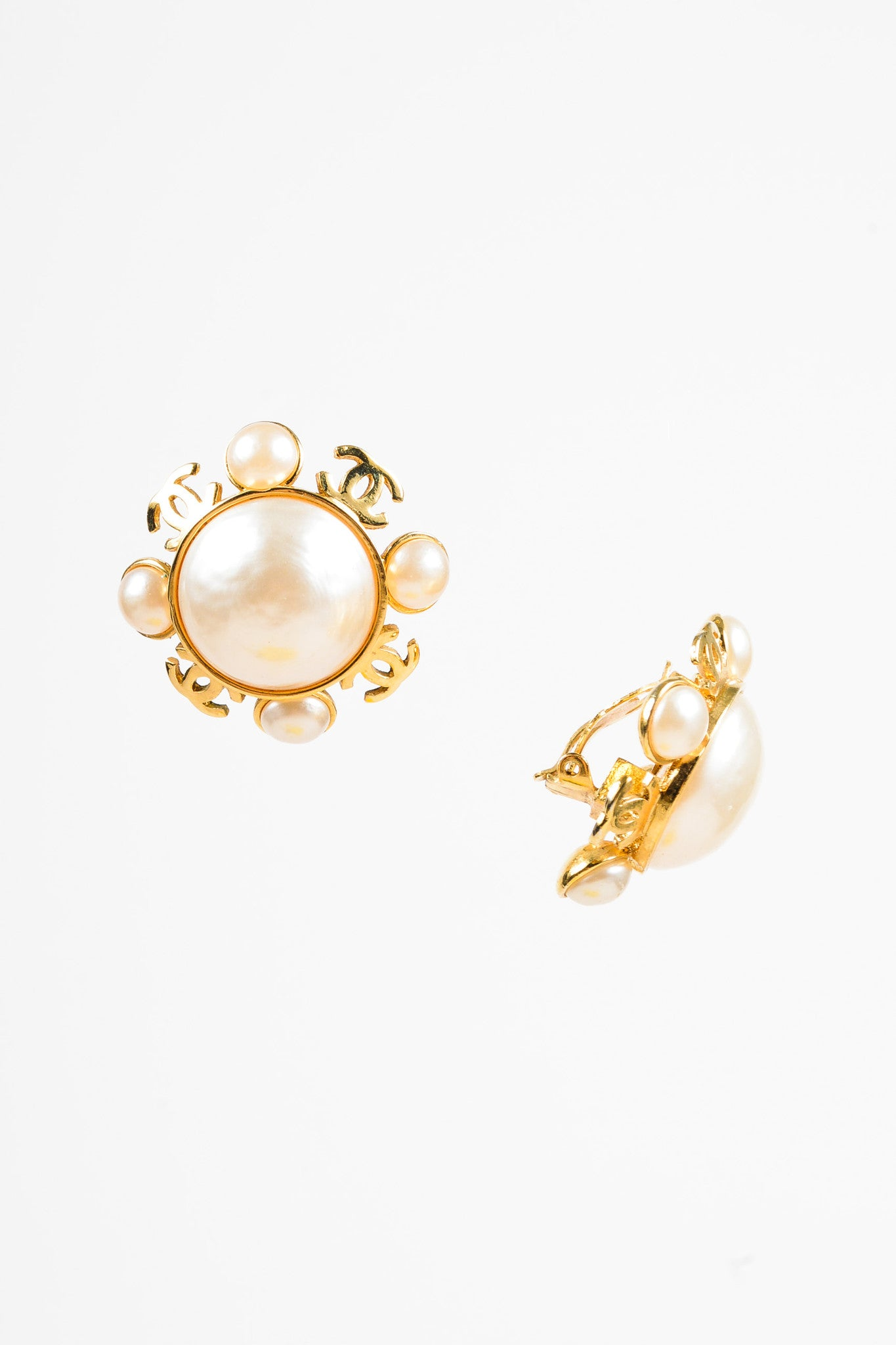 Chanel Gold Toned and Faux Pearl 'CC' Clip On Earrings Sideview