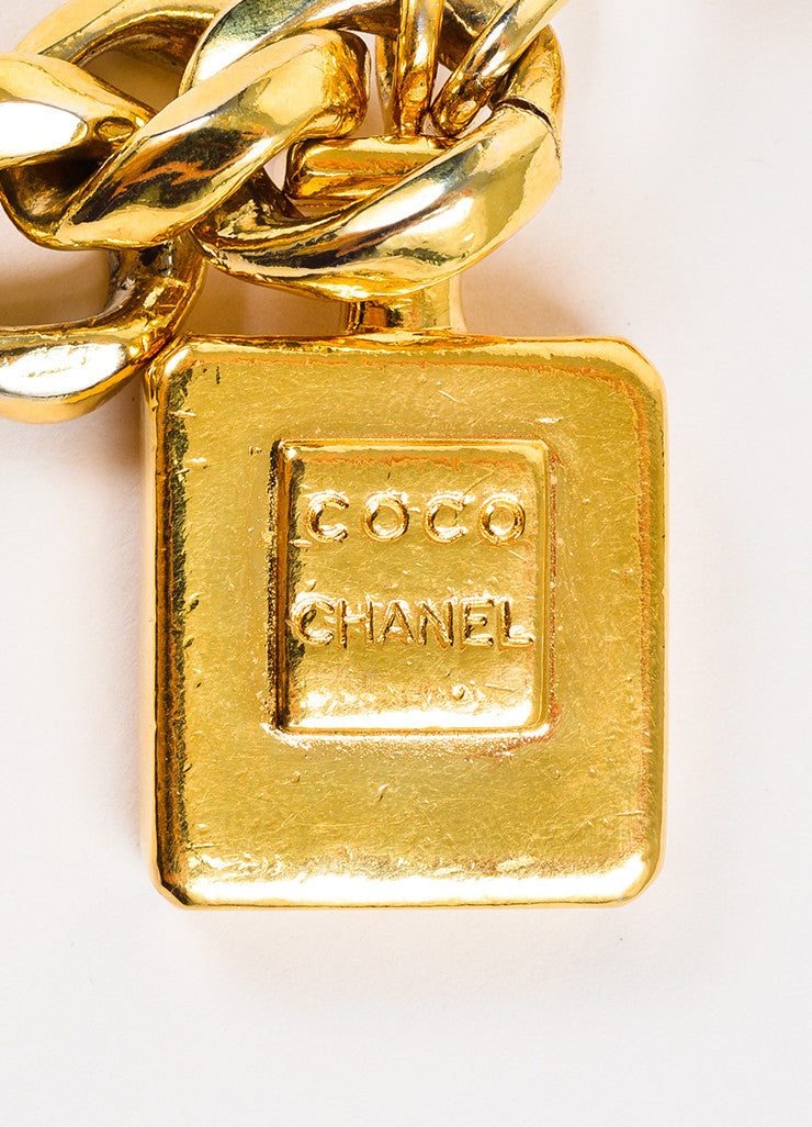 Chanel Gold Toned Perfume Charm Tassel Curb Chain Belt Detail 2