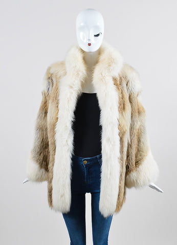 Cream, Beige, and Brown Fox Fur Winter Coat Frontview