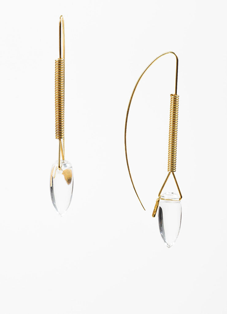 "Tina Chow 18K Yellow Gold and Clear Rock Crystal ""Amfora"" Drop Earrings Sideview"