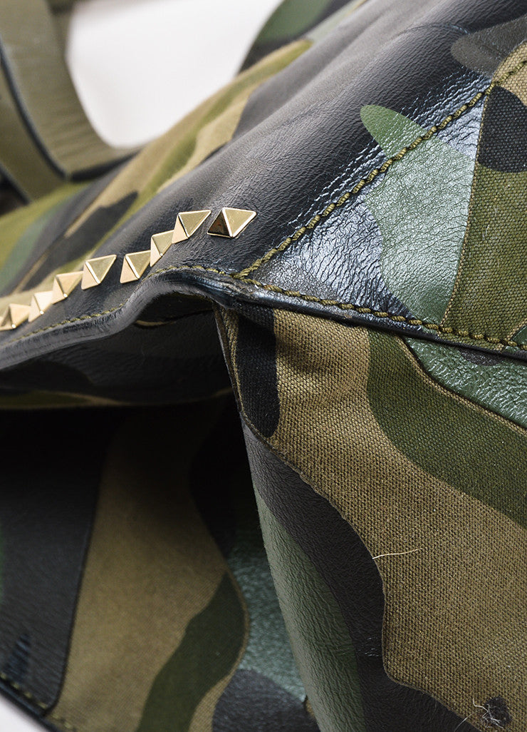 "Valentino Garavani Green and Black Canvas and Leather Camo ""Rockstud"" Tote Detail"