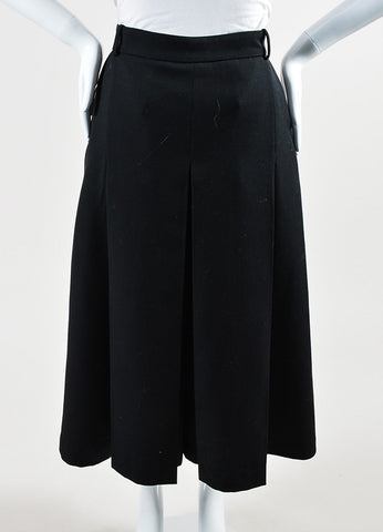 "Vilshenko Black Wool Pleated ""Lucy"" Culottes Front"