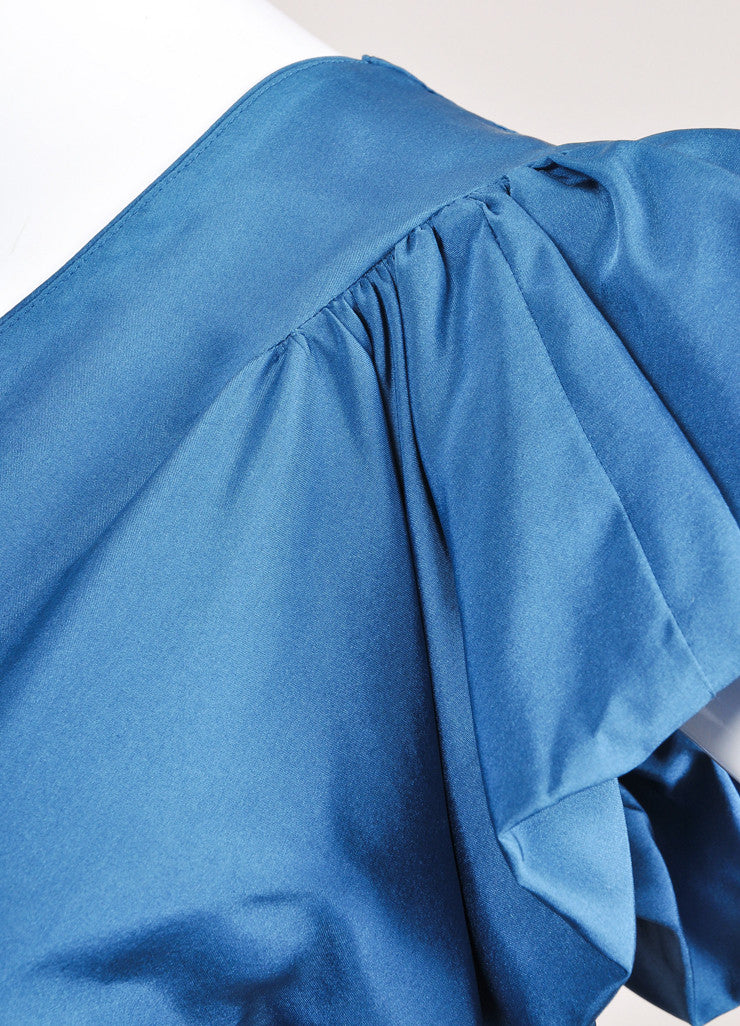 Yves Saint Laurent Teal Blue Silk Butterfly Sleeve Dress Detail