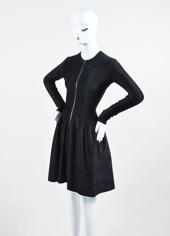 Alaia Black Velvet Felt Long Sleeve Scoop Neck A-Line Dress Sideview