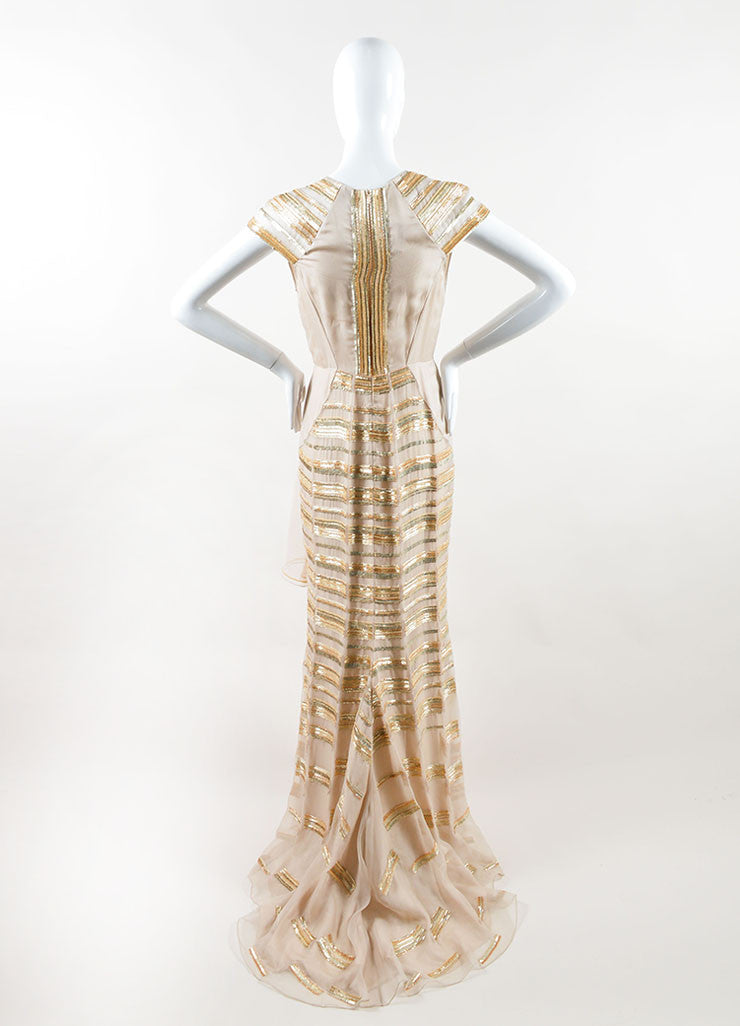 Bibhu Mohapatra Beige Silk Gold Sequin Beaded Cap Sleeve Gown Backview