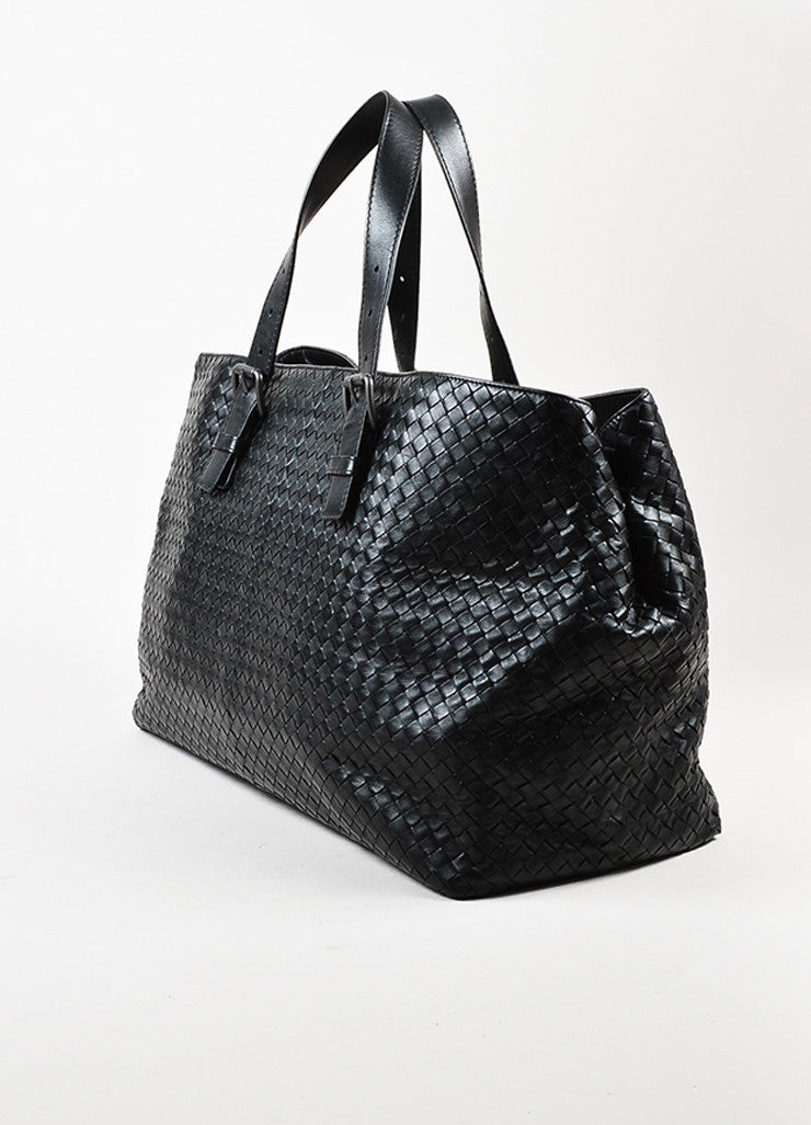 Bottega Veneta Black Intrecciato Woven Leather Buckle Strap Oversized Tote Bag Sideview