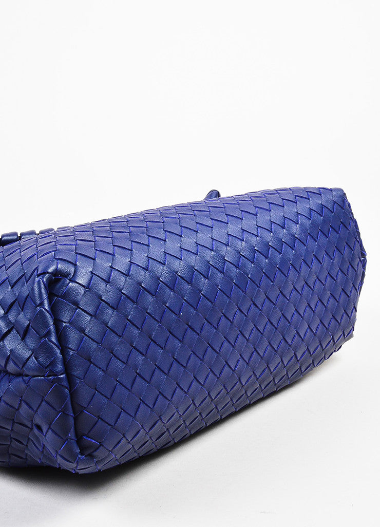 "Blue Bottega Veneta Leather Intrecciato Medium ""Olimpia"" Shoulder Bag Detail"