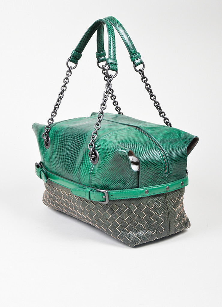 Green and Grey Bottega Veneta Lizard Leather Chain Strap Satchel Bag Sideview