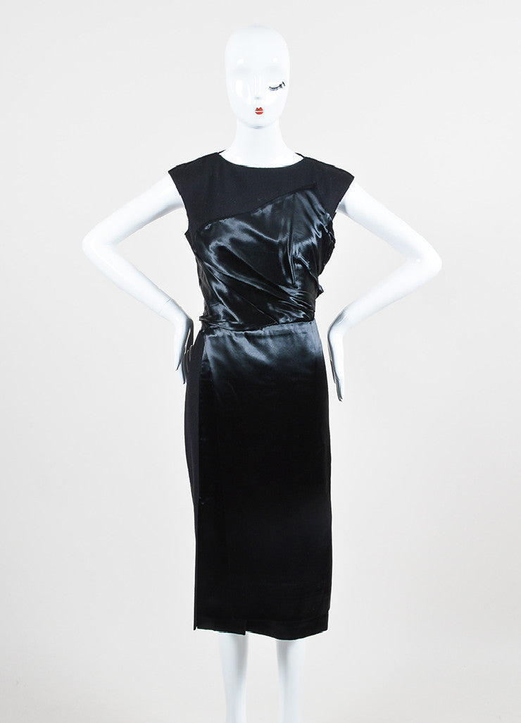 Black Bottega Veneta Wool and Satin Asymmetrically Draped Sleeveless Dress Frontview