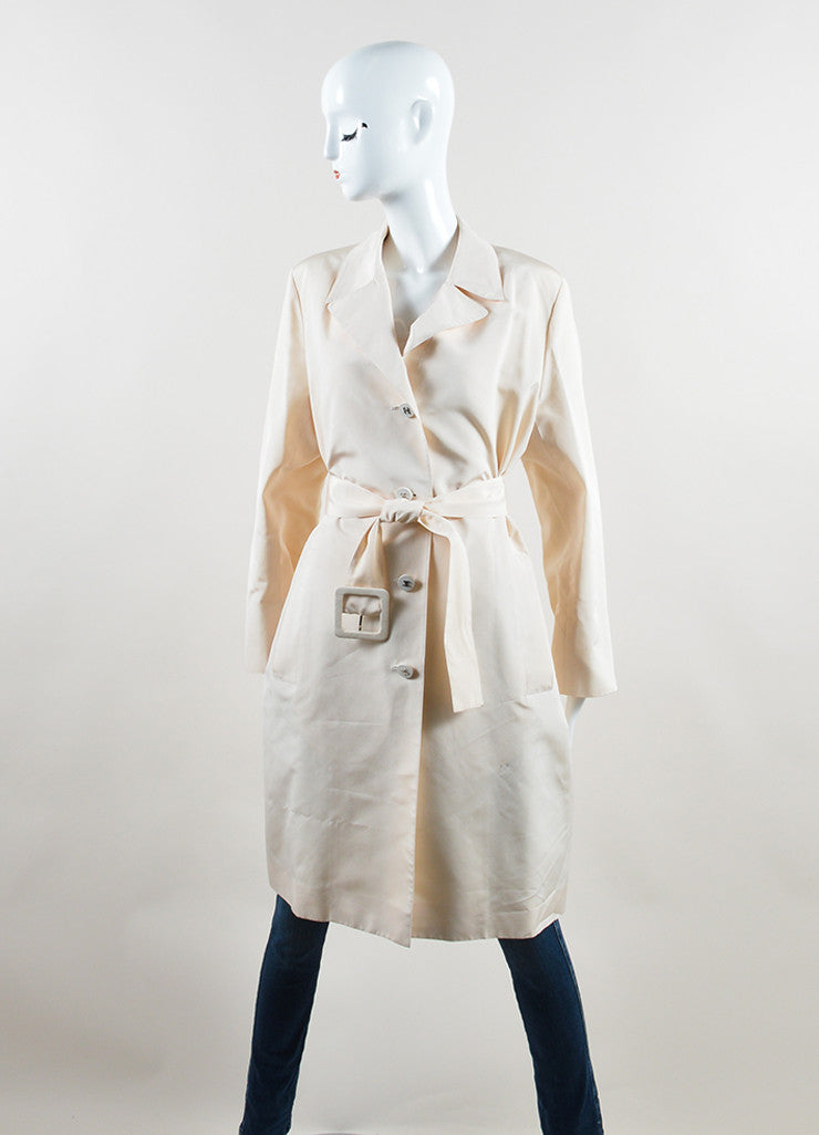 Chanel Cream Silk Long 'CC' Button Belted Jacket Frontview 2