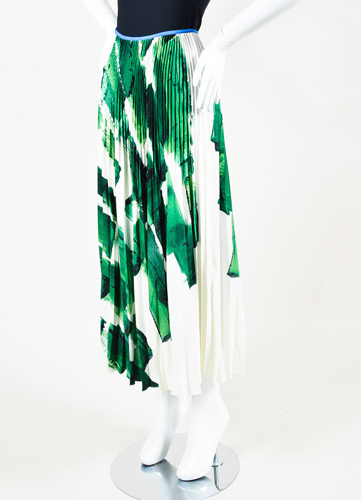 Celine Green and White Silk Brushstroke Print Pleated Flare Maxi Skirt Sideview