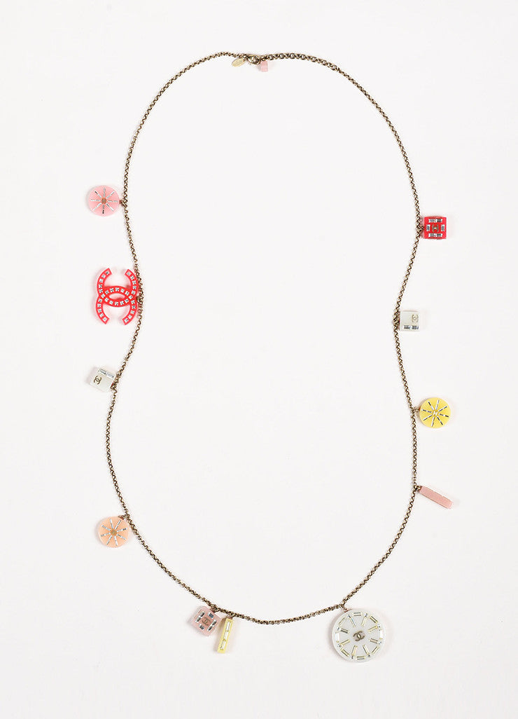 Chanel Silver Toned and Pink Crystal Accent Geometric 'CC' Charm Strand Necklace Frontview