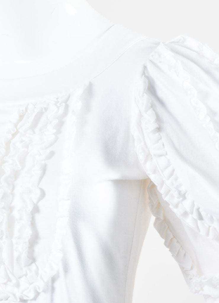 White Cotton Chanel Ruffled Crop Sleeve Bubble Dress Detail