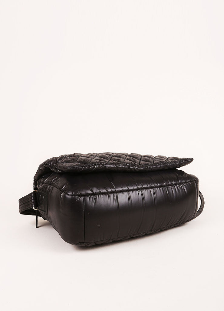 Black Chanel Padded and Quilted Nylon Messenger Bag Bottom View