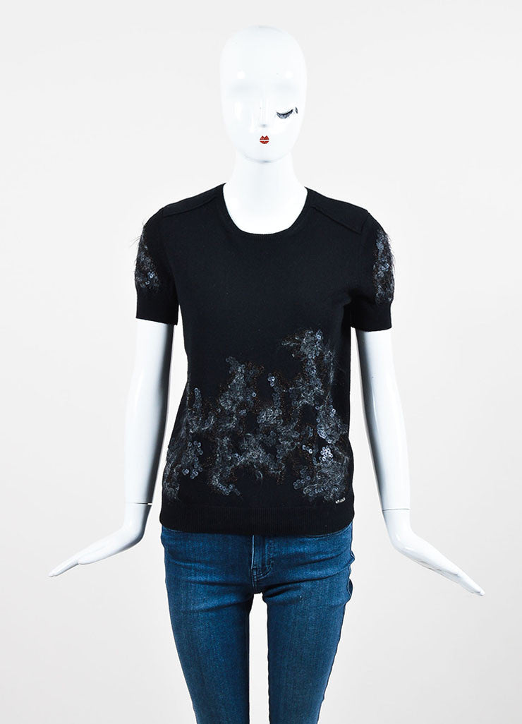 Black Chanel Cashmere Textured Sequin Design Short Sleeve Sweater Frontview