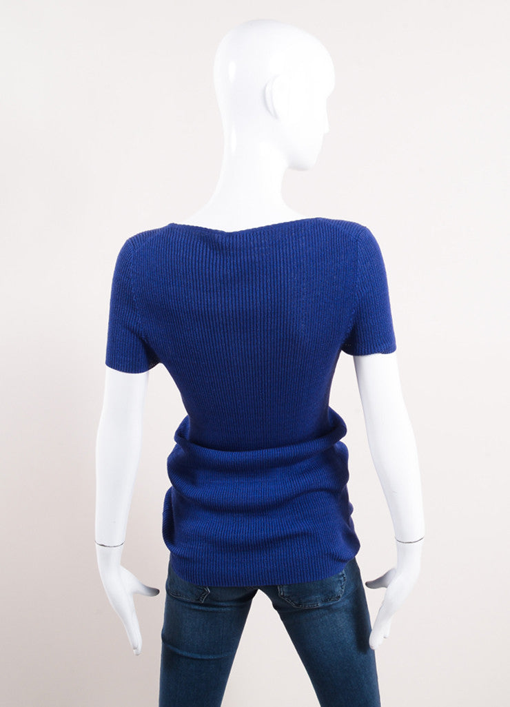 "Chanel Blue Short Sleeve Scoop Neck ""CC"" Knit Top Backview"