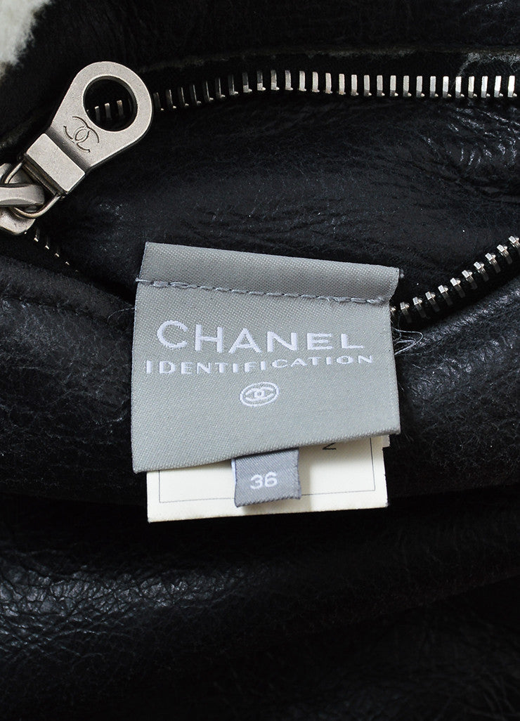 Black Leather and Cream Shearling Reversible Chanel Zip Up Coat Brand