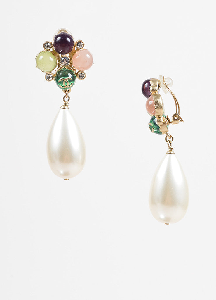 "Chanel Multicolor Resin Gold Toned Metal Faux Pearl Crystal ""CC"" Clip On Earrings Sideview"