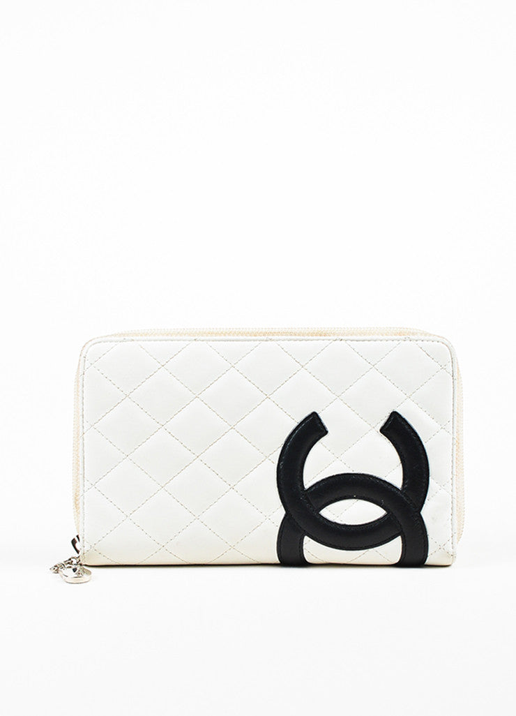 "Chanel White Quilted Lambskin Leather Black 'CC' Stitched ""Ligne Cambon"" Wallet Frontview"
