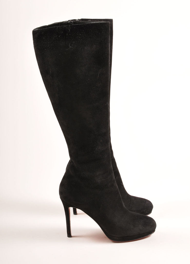 "Christian Louboutin Black Suede Leather Knee High ""Botalili"" Boots Sideview"