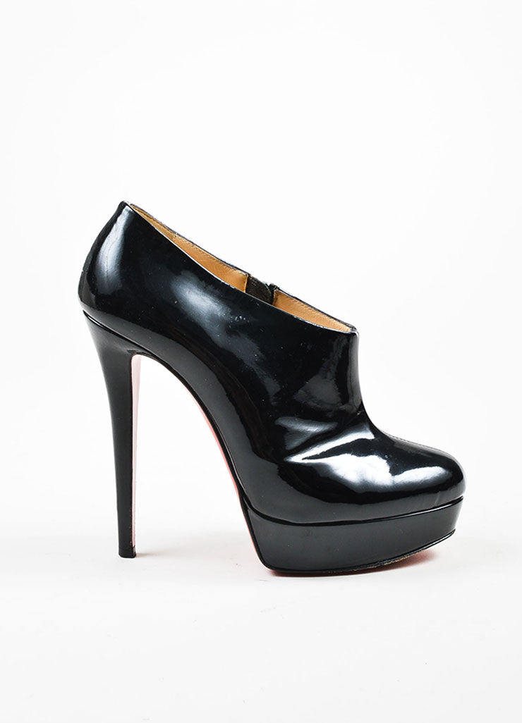 "Black Christian Louboutin Patent Leather ""Moulage"" Ankle Booties Sideview"