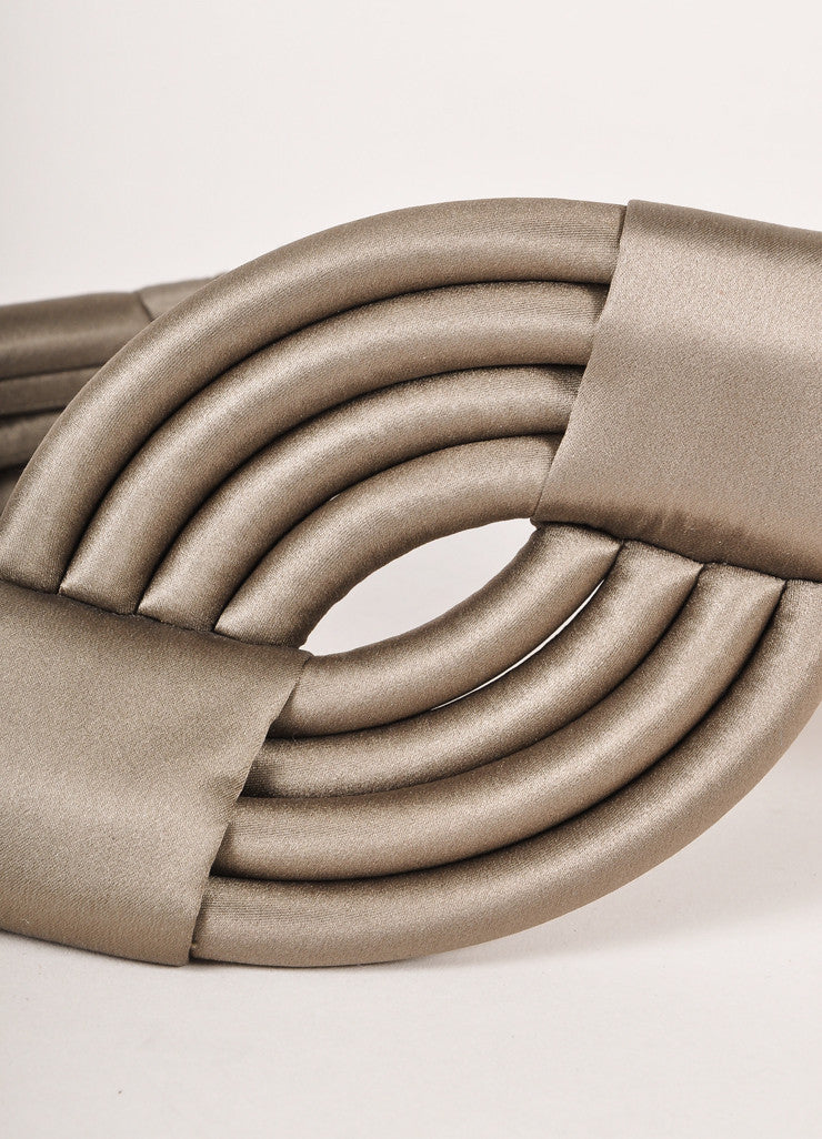 Escada Grey Rolled and Banded Satin Waist Belt Detail