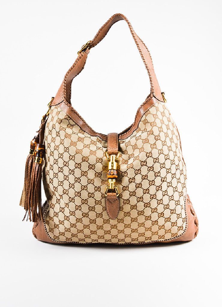 "Gucci Tan Monogram Canvas Leather ""Large New Jackie"" Tassel Hobo Shoulder Bag Frontview"