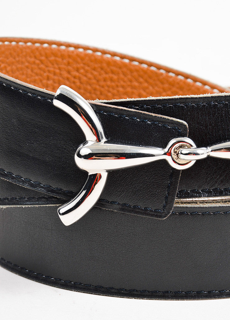 "Black and Brown Hermes Leather Reversible Horsebit ""H"" Belt Detail"