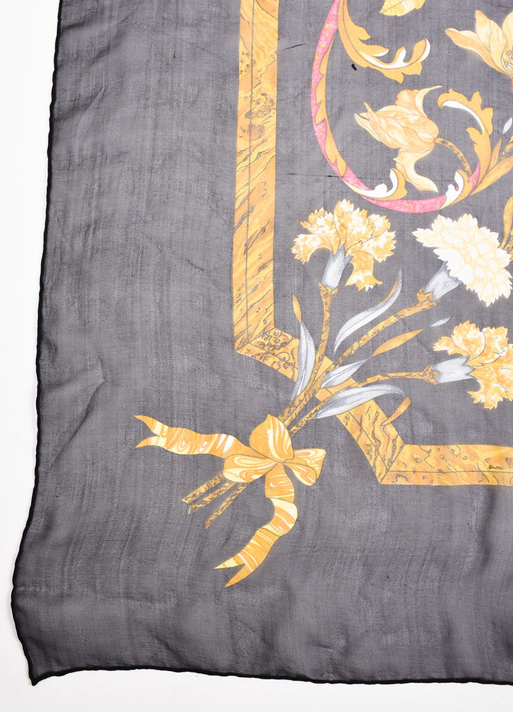 "Hermes Black and Multicolor Silk Floral Print ""Pierres d'Orient et d'Occident"" Scarf Detail 3"