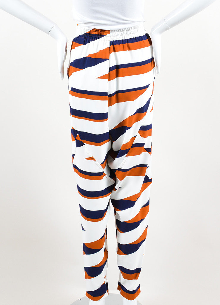 Navy, White, and Brown Kenzo Z Stripe Drop Crotch Jogger Trousers Backview