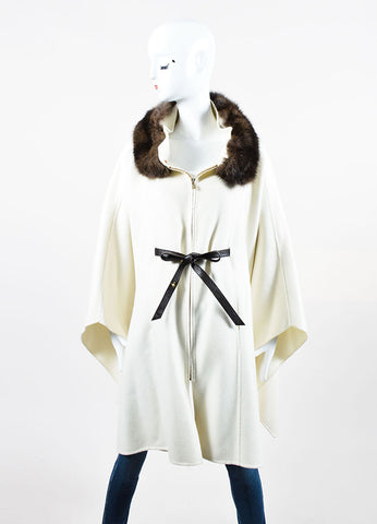 White and Brown Loro Piana Cashmere Fur Collar Belted Zip Cape Frontview